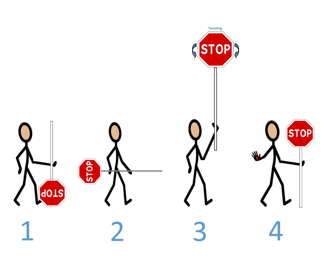 Icons of people holding stop sign at various levels: ground, waist level, up in the air, chest level